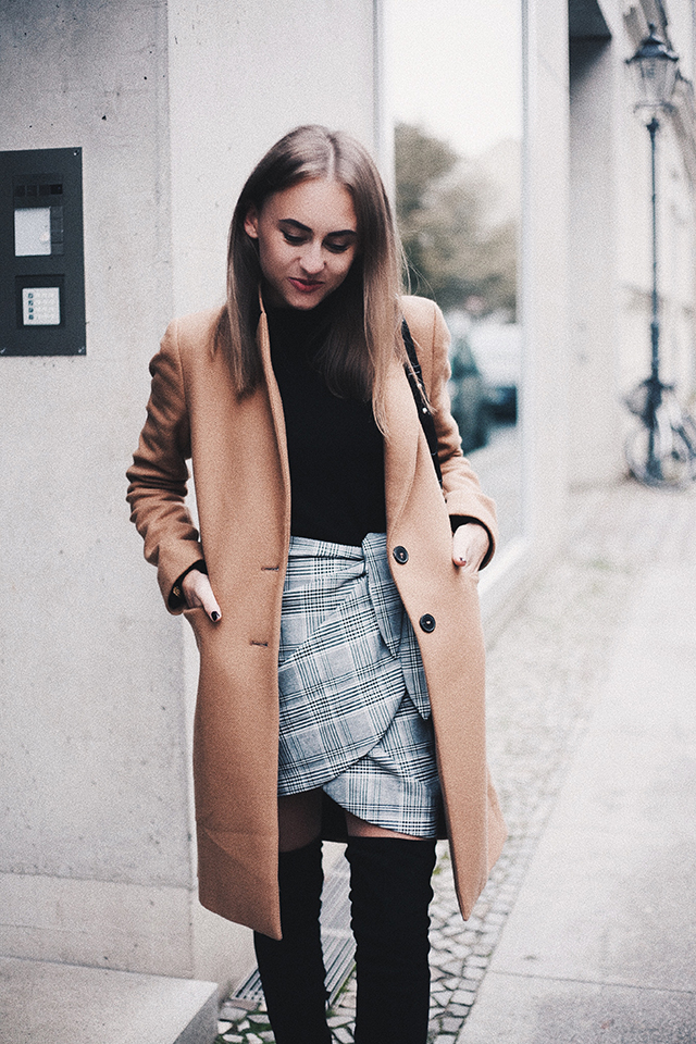 CAMEL COAT & CHECKERED SKIRT